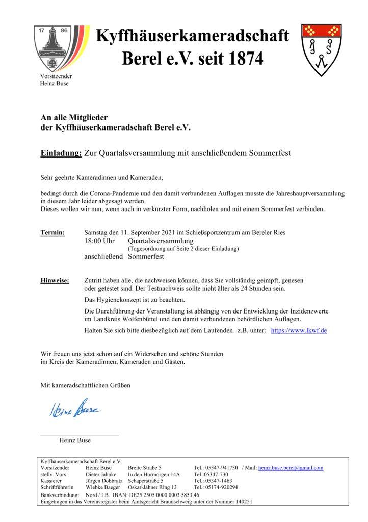 Einladung Quartalsversammlung 21